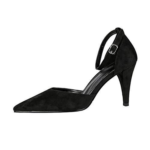 Drew Toby Women Pumps Pointed Toe Shallow Suede Ankle Strap Fashion Elegant High -