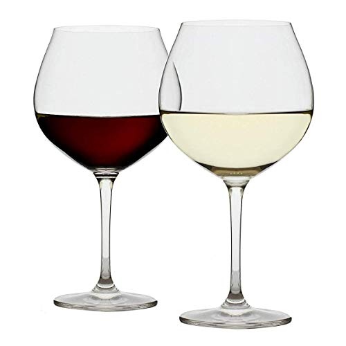 (Extra Large Red Wine Glasses - Set of 2 Big 25oz Goblets | Long Stem | Lead-free Crystal | Powerful Valentines Day Gift - Olivia Pope Style | Wide Bowl)