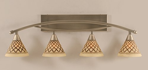 Bow 4 Light Bath Bar, Brushed Nickel-7 in. Chocolate Icing Glass