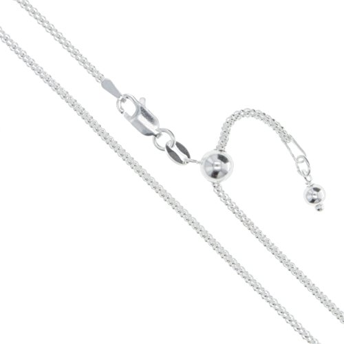 """Sterling Silver Adjustable Popcorn Chain 1.3mm Solid 925 Italy New Necklace 22"""""""
