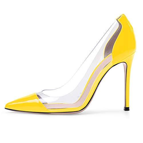 (Sammitop Women's Pumps Pointed Toe Yellow Patent Shoes Transparent High Heels US10)