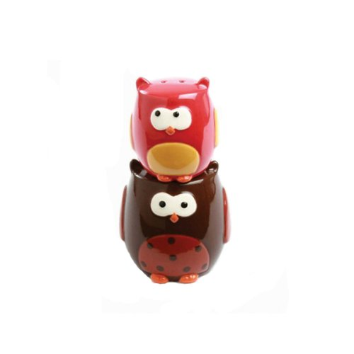 Stacking Owls Hand Painted Earthenware Salt & Pepper Set Earthenware Salt And Pepper Set