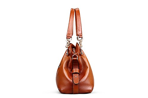 Bag Brown Top Women Genuine Red Handle Hermiona Daily Shoulder Leather Handbags Casual 17wzxqSPZ