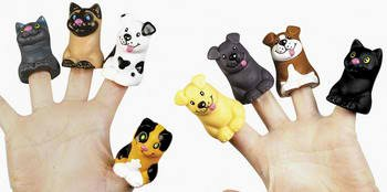 - Two Dozen Cat and Dog Finger Puppets (1-Pack of 24)