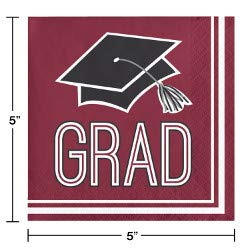 Class of 2019 Graduation School Spirit Burgundy & Black Party Tableware & Decorations for 36 Guests by Party Creations (Image #5)