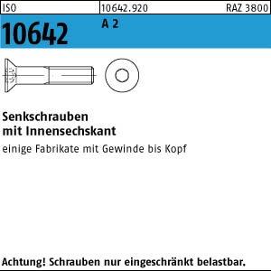 500 Inbus Senkkopfschrauben ISO 10642 A2 M4x8 V2A Niro Edelstahl