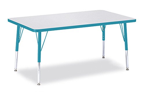 Berries 6473JCE005 Rectangle Activity Table, E-Height, 30'' x 48'', Gray/Teal/Teal by Berries