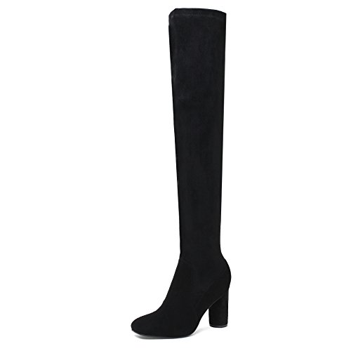 CXQ-Boots qin&X Women's Rough High heel High Over The Knee Elastic Long Boots Shoes Black 0B5my