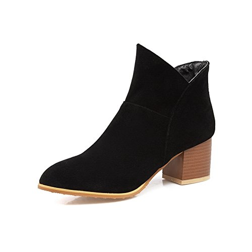 AdeeSu Womens Chunky Heels Pointed-Toe Velvet Lining  Microsuede Boots SXC02677 Black SsULDJcuk