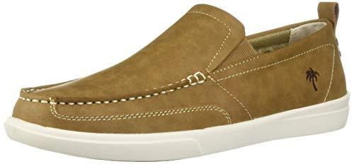 Margaritaville Men's Current Leather Slip On Shoe Boat, Light Tan, 13 Regular -