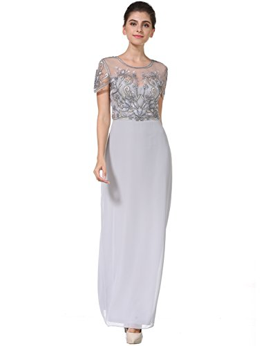 MANER Women's Fashion Chiffon Tulle Beaded Embroidered Long Evening Gowns Prom Party Dress(XL, Gray)