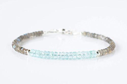 Labradorite and Aquamarine Dainty Silver Gemstone Beaded Bracelet March Birthstone