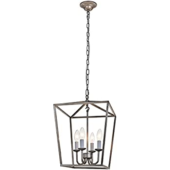 Simon Fashion Lantern Pendant L& Industrial Retro Iron Chandelier Fixture with 4 Candle Lights for Traditional Dining Room Bar Cafe L12.6  x W12.6  x ...  sc 1 st  Amazon.com & Troy Lighting Sausalito 5-Light Chandelier - Silver Gold Finish with ...