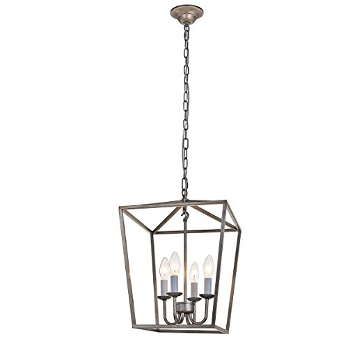 ANJIADENGSHI Vintage Lantern Pendant Light Lantern Iron Cage Adjustable Hanging Height with 4 E12 Bulbs Lantern Chandelier for Dining Room Bar Cafe, Antique Silver