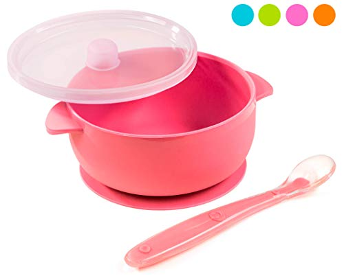 Silicone Baby Bowls Dishwasher/Microwave Safe Non-Slip for Babies/Toddlers/Kids Includes 1 Bowl 1 Soft Spoon and 1 lid BPA Free (Pink)