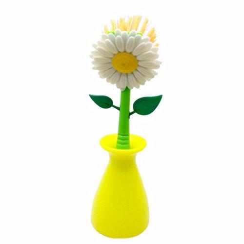 Sunflower Kitchen Brush Cleaning Tool Multi-funtion Dish Washing Brush Kitchen Bathroom Gadgets Tool (yellow)