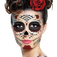 Sugar Skull Makeup Temporary Tattoo (Day Of The Dead Face Tattoo)