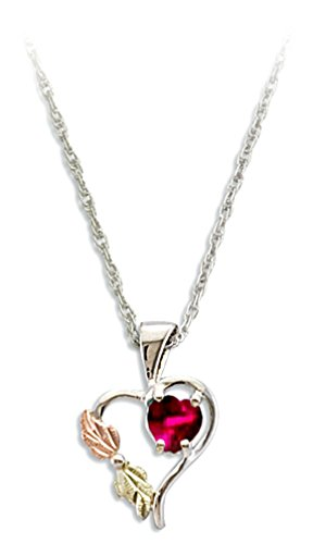 Red CZ July Birthstone Heart Pendant Necklace, Sterling Silver, 12k Green and Rose Gold Black Hills Gold Motif, - Green Stores Hills At
