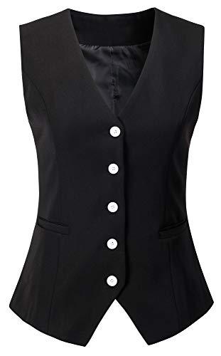 Vocni Women's Fully Lined 4 Button V-Neck Economy Dressy Suit Vest Waistcoat (US S (Fit Bust 33.5