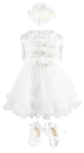 Twins Christening Invitations (Bebetomy Baby Girls' Christening Baptism Gown Dress 5 Piece Deluxe Set 0-3)