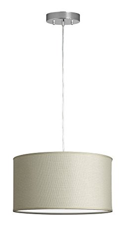 Messina Drum Pendant Ceiling Light - Cream Woven Shade - Lin