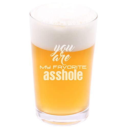 (You are my favorite asshole - Funny Novelty Beer Pint Glass with Coaster and Gift Box - 16 oz - Present for Husband Dad Boyfriend Friend Co-worker Men on Birthday Fathers Day Christmas)