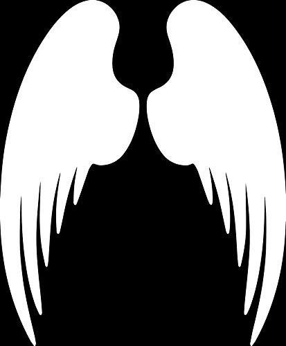 Angel Wings Silhouette (White) (Set of 2) Premium Waterproof Vinyl Decal Stickers for Laptop Phone Accessory Helmet Car Window Bumper Mug Tuber Cup Door Wall Decoration