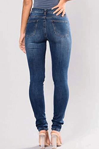 Elástico Jeans Lápiz Volantes Cremallera Bordado Alta Blau Adelina Ropa De Bolsillos Pantalones Vaqueros Cintura Con TqvtOt
