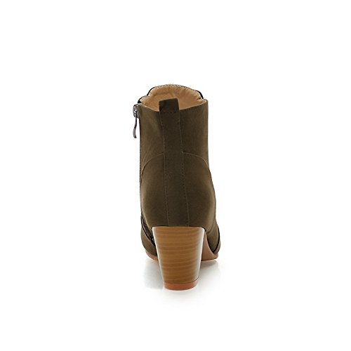 1TO9 Girls Chunky Heels Zipper Round Toe Frosted Boots Army Green vcrUx