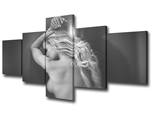 Erotic Painting Black and White Canvas for Couples Sensual Blond Woman 5 Piece Print Sexy Wall Art Pictures for Living Room Home Decor Gallery-wrapped Artwork Framed Ready to Hang - 50