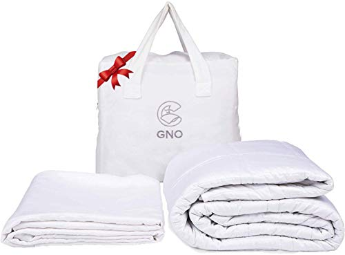 GnO White Weighted Blanket & Bonus Removable Bamboo Duvet Cover - 100% Organic Cooling Cotton & Glass Beads - Premium Heavy Blanket for Adult - Designed in USA - (20 Lbs - 60