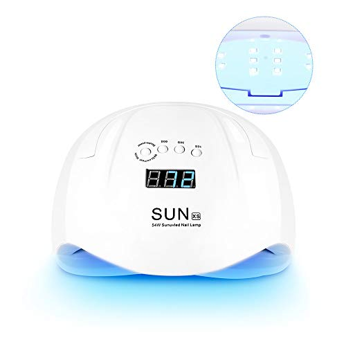 UV LED Nail Lamp for Gel Nails, 54W LED Gel Nail Lamp Portable Nail Dryer with 4 Timer Setting Automatic Sensor Detachable Magnetic Tray Nail Art Tools for Fingernail and Toenail (Portable Lamps)
