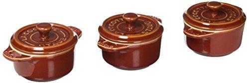 Staub 40511-877 Ceramics Mini Round Cocotte Set, 3-piece, Rustic Red (Staub Red Round Cocotte)