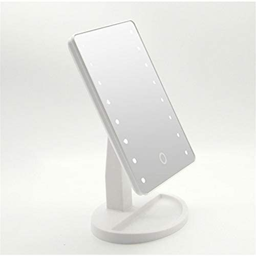 LEDデスクトップ16ライトメイクアップミラー、タッチセンサー式調光、デュアル電源モード、ドレッシングテーブル、トイレ、寝室などに適しています
