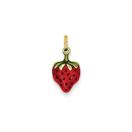 14k Yellow Gold Hollow Polished Enameled Puffed Strawberry Charm - Measures 15x9mm