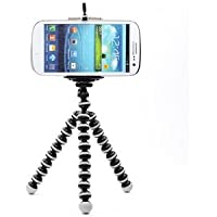 Sungpunet Octopus Style Portable and adjustable Tripod Stand with Mount / Holder for iPhone, Cellphone ,Camera with Case Star Velvet Bag (Medium tripod (M) - Black & White with mount (L))