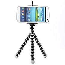 Case Star ® Tripie Portable Ajustable con Soporte para Celular, Compatible con iPhone, Samsung, HTC, Xiaomi, Cámaras Deportivas - Negro con Blanco