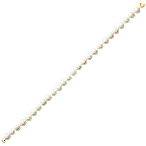 So Chic Bijoux © Bracelet Femme Longueur 18 cm Perles Eau Douce 8 mm Crème Ivoire Or Jaune 750/000 (18 carats)