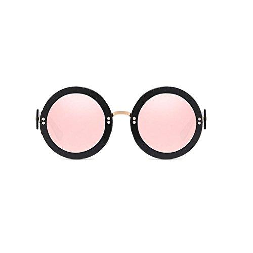Mode Personnalité Frame Sunglasses Black Pink GAOLIXIA Couleur Mme Miroir Retro Film Visière Hommes Lunettes soleil de Round Sunglasses Frame 7xOzxqI