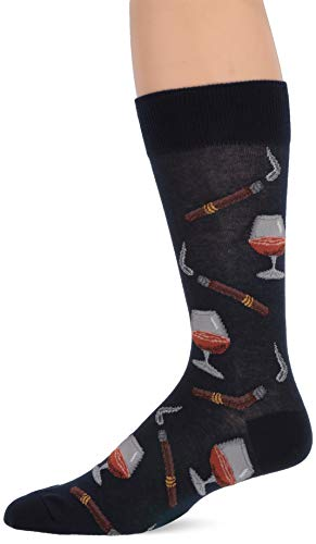 Hot Sox Men's Food and Booze Novelty Casual Crew Socks, Cognac And Cigars (Navy), Shoe Size: 6-12 Size: 10-13