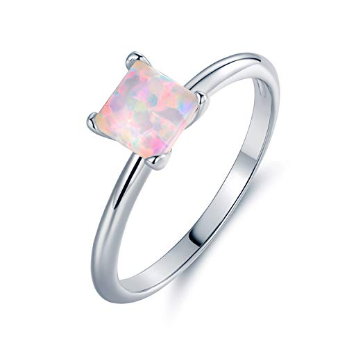Barzel Rose Gold Plated or White Gold Plated Princess-Cut Created Fire Opal Solitaire Engagement Ring (White Gold, ()