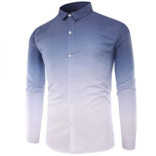 Shirts Casual Button Down Long Sleeve Hawaiian Tropical Summer Casual Tops Coloured Gradually Changing Men (3XL,Navy)]()