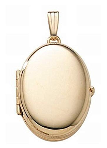 PicturesOnGold.com 14K Gold Filled 4-Page Photo Oval Locket - 3/4 Inch X 1 Inch with Engraving