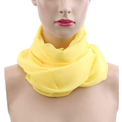 SOURBAN Beach Shawl Solid Color Chiffon Scarf Casual Open Front Cover up Long Scarf,yellow,LW 15050cm by SOURBAN (Image #2)