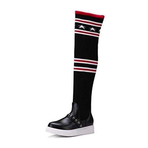 QPYC señoras de tacón bajo ocio viento de la universidad interior aumento de alta raya botas de elasticidad botas altas calcetines de tubo black