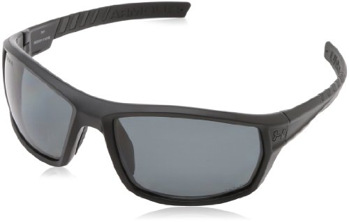 (Under Armour Ranger Satin Black (Exterior) - Shiny Black (Interior) Frame, with Black Rubber and Storm (ANSI) Gray Polarized Lens)