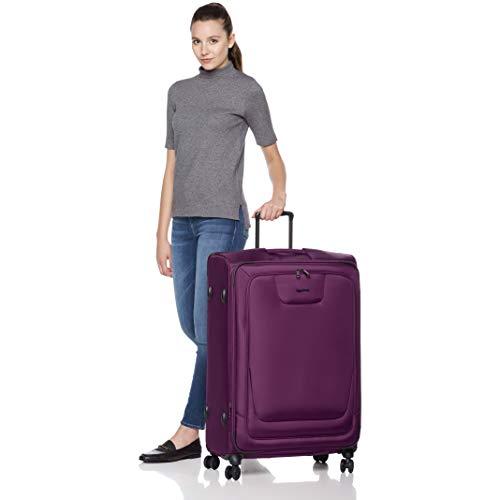AmazonBasics 2 Piece Expandable Softside Spinner Luggage Suitcase With TSA Lock And Wheels Set - Purple