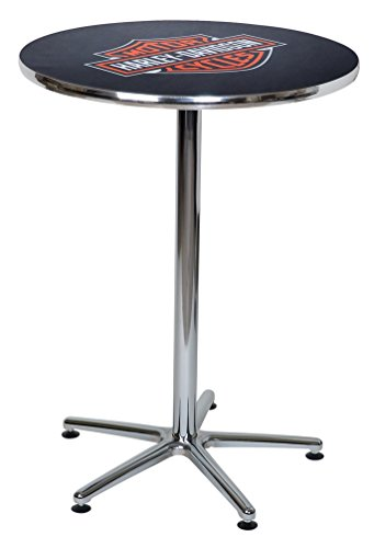 Davidson Table Harley - Harley-Davidson Bar & Shield Logo Round Cafe Table, Durable & Chrome HDL-12314