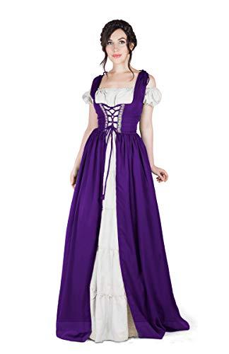 Boho Set Medieval Irish Costume Chemise and Over Dress (L/XL, Purple/White) -