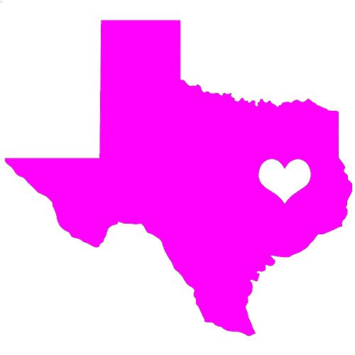 (TEXAS LOVE State Silhouette w/ Heart V1 Vinyl Decal by stickerdad - size: 6